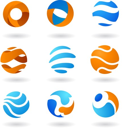blue sphere: Collection  of abstract globe icons