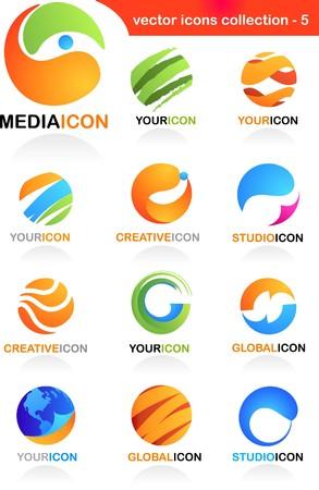 logo reciclaje: Colecci�n de iconos de negocio abstracta - medios de comunicaci�n mundiales y el tema de la comunicaci�n