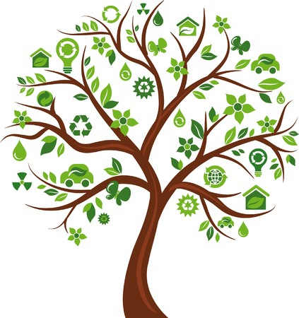 tree logo: Green tree with many ecological icons and logos