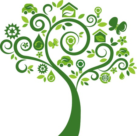 Green tree with many ecological icons and logos Vector