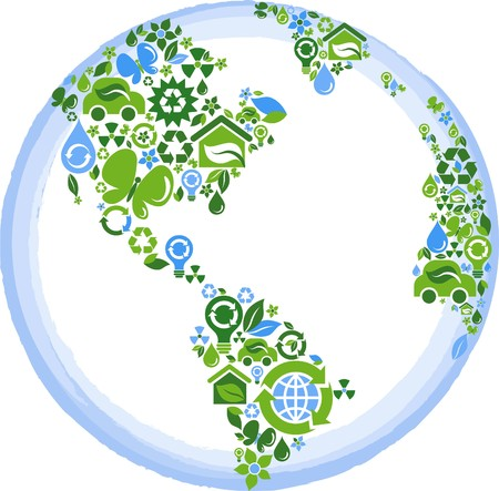 environment geography: globe outline compose of green and blue ecological icons