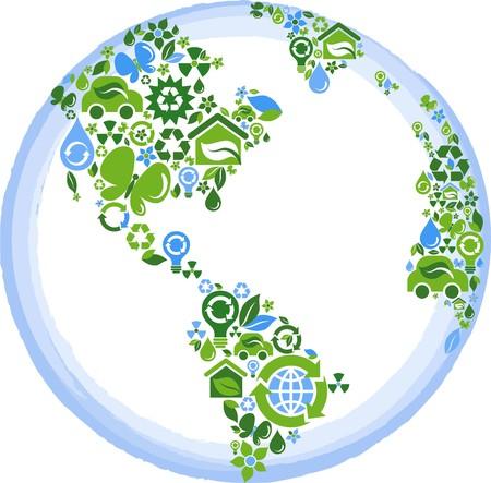 contorno de globo se componen de iconos ecológicos, verdes y azules
