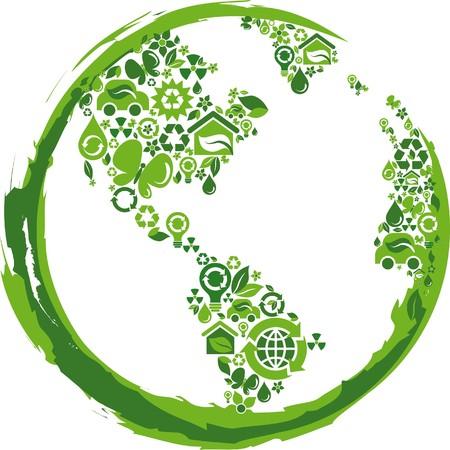 planeta tierra feliz: esquema de globo componer de iconos ecol�gicos verdes  Vectores