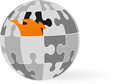 logo informatique: globe 3D fabriqu� � partir de pi�ces de puzzle