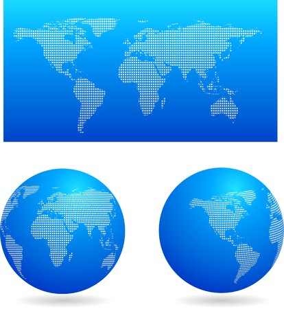 Blue map and two globes  Vector
