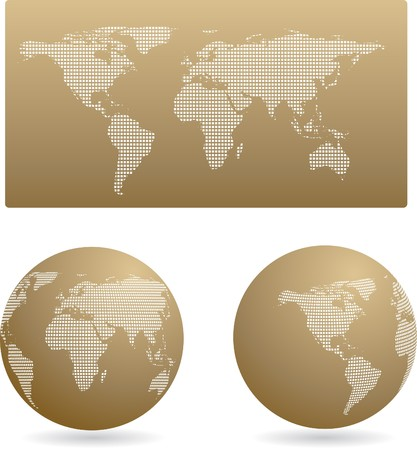 Map and two globes - retro style Vector