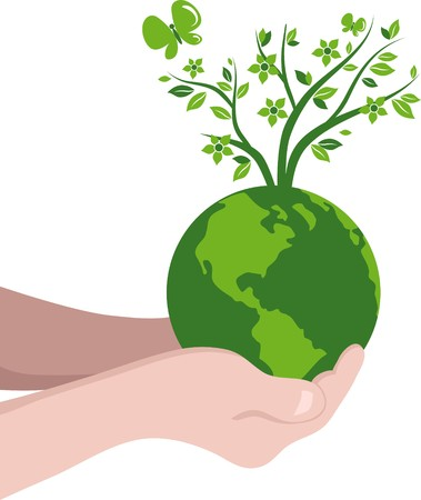 Green globe with a tree Vector