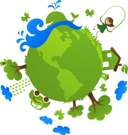 Globe with cute eco icons Vector