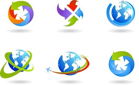 logo recyclage: Collection de six globes et ic�nes du commerce mondial