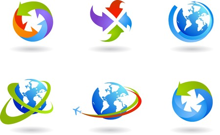 Collection of six globes and global business icons Stock Vector - 6900285