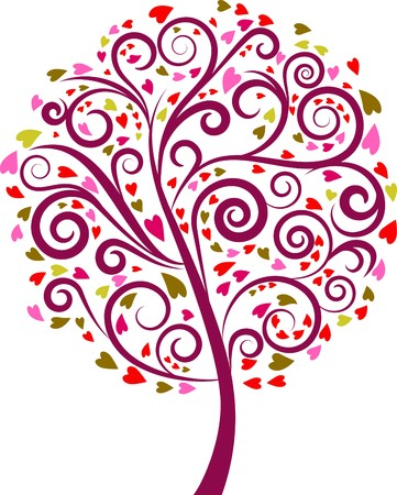 retro sunrise: Colourful decorative tree with heart graphic elements
