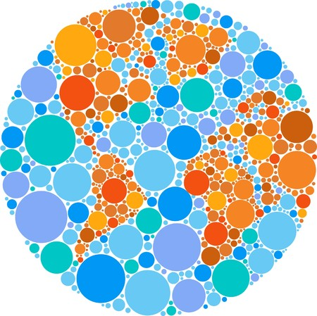 Globe outline made from colourful round patches Vector