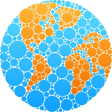 glob: Globe outline made from blue and orange round patches