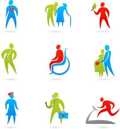 personas discapacitadas: Colecci�n de iconos coloridos de cuidado de la salud