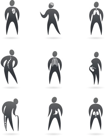 physiology: Collection of X-ray styled human  icons and logos Illustration