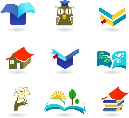 Collection of education and schooling icons and logos Vector