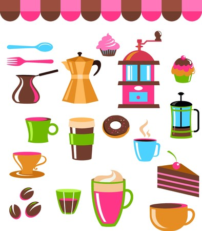 turkish dessert: Coffee shop colourful icon set Illustration