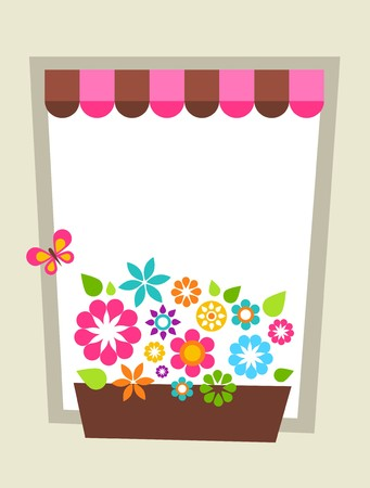 Greeting card template with window-shaped card template floral frame