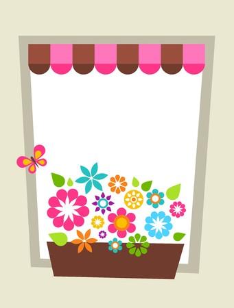 marco cumplea�os: Plantilla de la tarjeta de felicitaci�n con marco floral de la plantilla de tarjeta en forma de ventana  Vectores