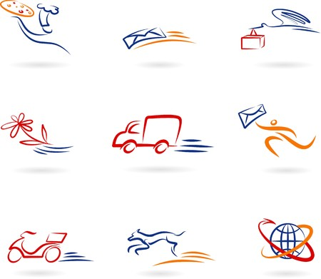 pizza delivery: Collection of delivery and post icons and logos