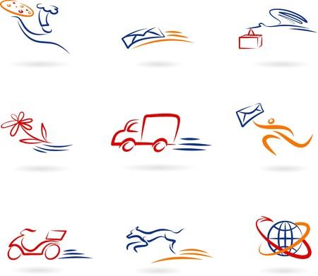 Kolekcja ikony dostawy i post i logo Logo