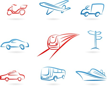 Collection of line-art transportation icons and logos
