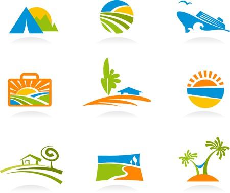 logotipo turismo: Colecci�n de logotipos y coloridos iconos de turismo y vacaciones  Vectores