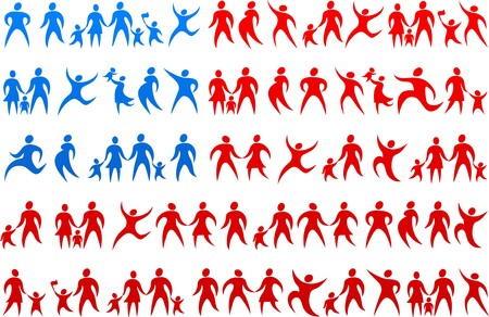 American flag made from red and blue  human icons Vector