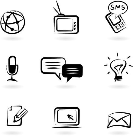 conexiones: Colecci�n de iconos de comunicaci�n blanco y negro  Vectores