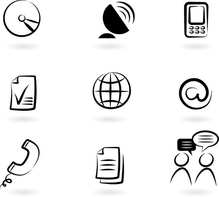 www at sign: Collection of black and white communication icons -  2