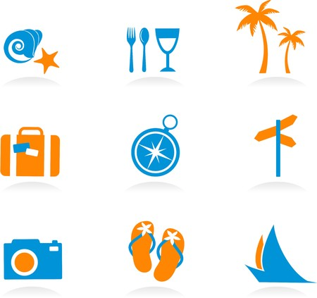 Collection of colourful tourism and vacation icons and logos - 2 Stock Vector - 7039301