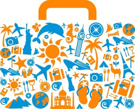 logotipo turismo: Maleta con muchos iconos coloridos de turismo y las vacaciones y los logotipos de viaje