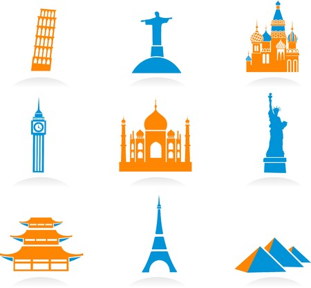 mahal: Icon set with famous international historical landmark monuments