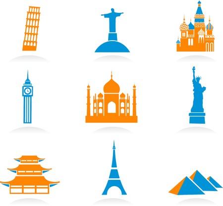 kremlin: Pictogrammen set met beroemde internationale historische bezienswaardigheid monumenten Stock Illustratie