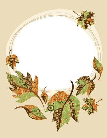 a bough: Retro background with autumn leaves Illustration