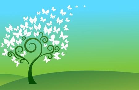 Fondo verde con colinas, árbol y mariposas blancas