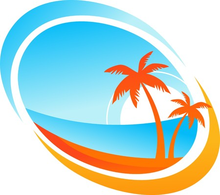 Tropical background with palm trees and setting sun Vector