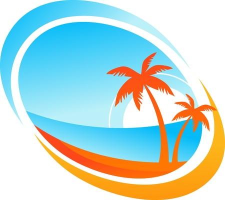 Tropische achtergrond met palmbomen en ondergaande zon