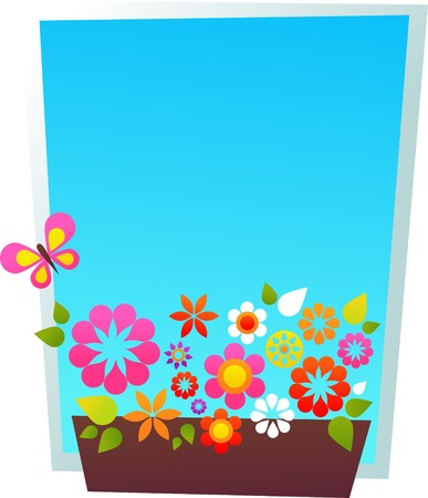 Greeting card template with window-shaped floral frame and blue skies Stock Vector - 7039319