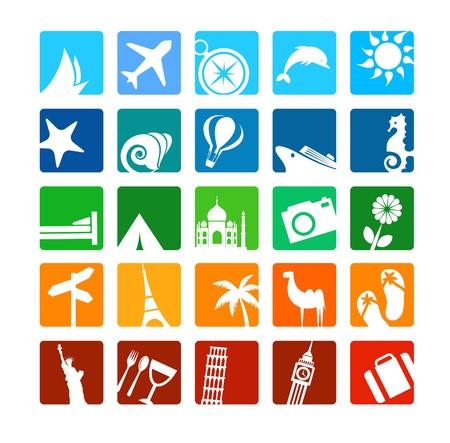 Enorme conjunto de iconos de turismo y vacaciones