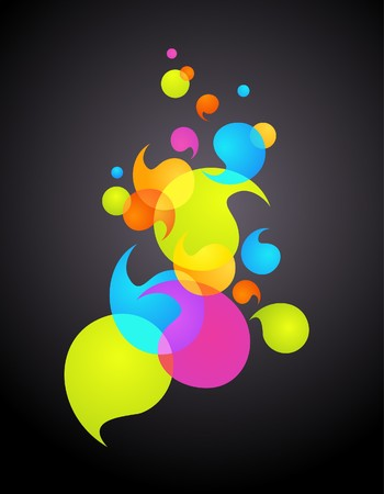 bright decoration color: Colorful bubbles on black background