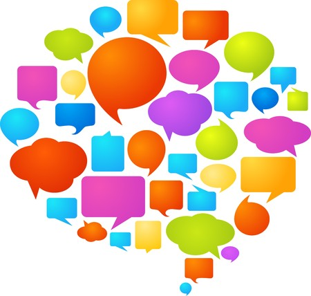 thought: Collection of colorful speech bubbles and dialog balloons  Illustration