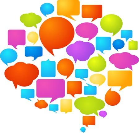 Kolekcja pęcherzyków kolorowe mowy i okno dialogowe dymków  Logo
