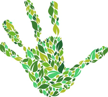 Green hand made from leaves pattern Vector