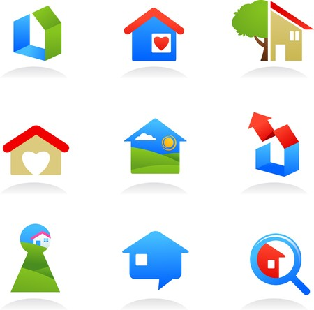 collection of real estate icons / logos Stock Vector - 7143369