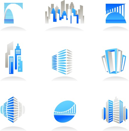 construction logo: Collection of abstract real estate and construction icons  logos Illustration