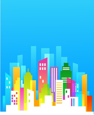 Downtown/ real estate background with blue sky Stock Vector - 7143421