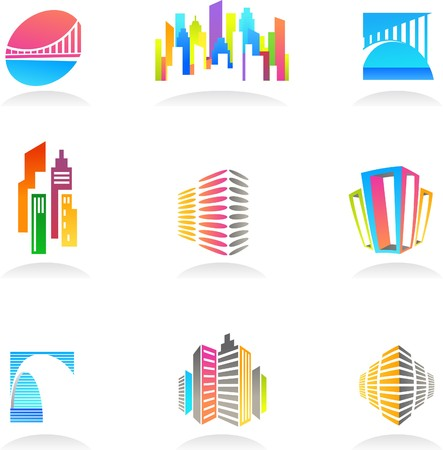 corporate building: Collection of abstract real estate and construction icons  logos Illustration