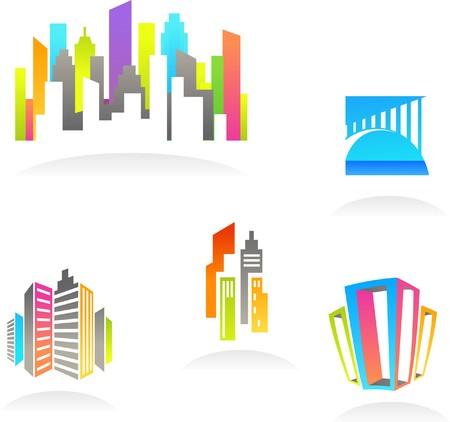 property investment: Collection of abstract real estate and construction icons  logos Illustration
