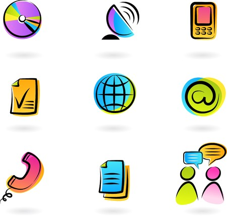 Collection of colorful  communication icons - 2 Stock Vector - 7143417